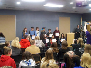Students from St. John's Lutheran School are honored for their artwork.